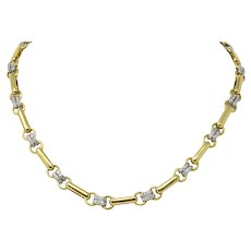 Polished Tiffany & Co. 1.05 CTW Diamond 18 Karat Two-Tone Gold Necklace