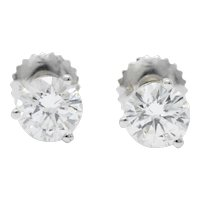 Impressive 1.20 CTW Diamond 18 Karat White Gold Stud Earrings
