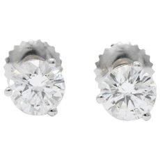 1.20 CTW Diamond 18 Karat White Gold Stud Earrings