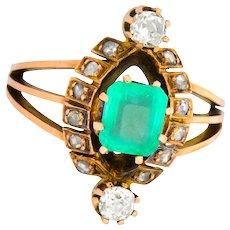 Victorian 1.25 CTW Emerald Diamond 14 Karat Rose Gold Ring