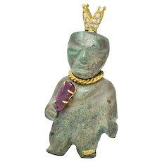 Koven 1.25 CTW Diamond Ruby 18 Karat Gold Brooch