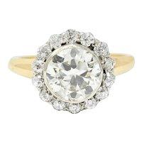 Superb Edwardian 2.61 CTW Diamond Platinum-Topped 14 Karat Gold Engagement Ring GIA