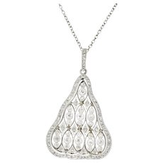 Antique Edwardian 1.40 CTW Diamond Platinum Pendant With Chain