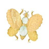 Buccellati 1960's 4.00 CTW Emerald Seed Pearl 18 Karat Gold Butterfly Brooch