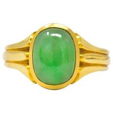 D & F Victorian Jadeite Jade 18 Karat Gold Unisex Ring GIA