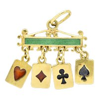 Unique Victorian Enamel 18 Karat Gold Playing Cards Charm