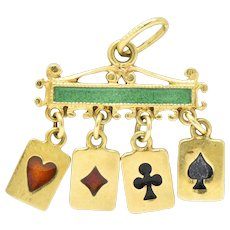Unique Victorian Enamel 18 Karat Gold Playing Cards Charm