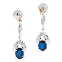 Retro 1.80 CTW No Heat Sapphire Diamond 14 Karat White Gold Drop Earrings GIA
