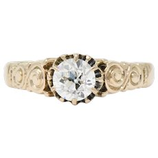 Victorian 0.57 CTW Diamond 14 Karat Rose Gold Engagement Alternative Ring GIA