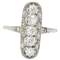 Edwardian 0.90 CTW Diamond Platinum-Topped 14 Karat Gold Ring