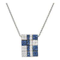 G. Bulgari 1.25 CTW Diamond Sapphire 18 Karat White Gold Enigma Necklace