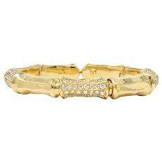 Contemporary 7.50 CTW Diamond 18 Karat Gold Flex Bangle Bracelet