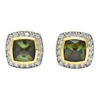 David Yurman 4.80 CTW Diamond Tourmaline 18 Karat Two-Tone Gold Stud Earrings