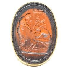1920's Achilles Glass Intaglio 14 Karat Gold Men's Ring
