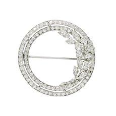 Tiffany & Co. Art Deco 2.50 CTW Diamond Platinum Circle Pin