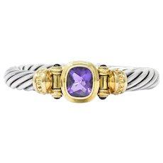 David Yurman Amethyst Green Onyx Sterling Silver 14 Karat Gold Cable Bracelet
