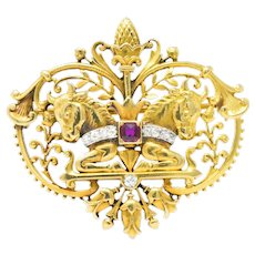 Tiffany & Co. Victorian Diamond Ruby Horse 18 Karat Yellow Gold Brooch