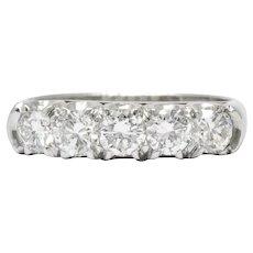 Retro 1.25 CTW Diamond Platinum 5 Stone Anniversary Band Stackable Ring