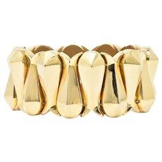 Bold Retro G.F.B. 18 Karat Gold Wide Bracelet
