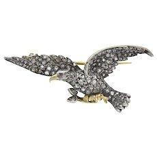 Edwardian 2.00 CTW Diamond Ruby Silver-Topped 14 Karat Gold Eagle Brooch