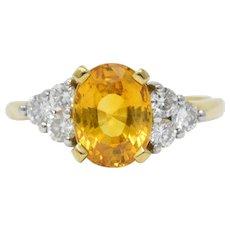 L.M.C 3.30 CTW Orange Sapphire Diamond Platinum 18 Karat Gold Ring