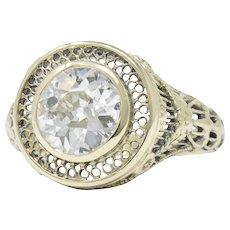 Ornate Victorian 1.61 Carats Old European Diamond 14 Karat Gold Engagement Ring GIA