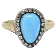 Victorian Turquoise Diamond Silver-Topped 14 Karat Gold Ring
