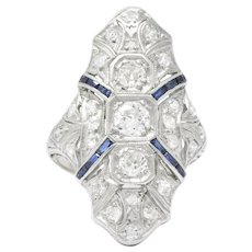1920's 1.15 CTW Diamond Sapphire Platinum Art Deco Dinner Ring