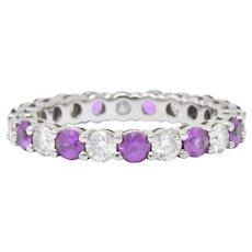 "Tiffany & Co. 1.85 CTW Pink Sapphire Diamond Platinum ""Embrace"" Eternity Band Ring"