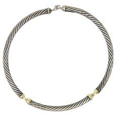 David Yurman Metro Sterling Silver 14 Karat Gold Cable Necklace