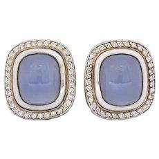 David Yurman Chalcedony .70 CTW Diamond Sterling Silver Earrings