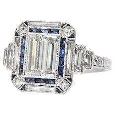 Unique Art Deco 2.90 CTW Diamond Sapphire Platinum Engagement Ring