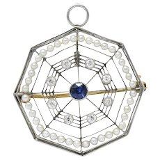Edwardian Spider Web 0.31 CTW Diamond Sapphire Seed Pearl Platinum Pendant Brooch