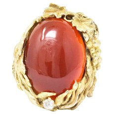 Art Nouveau Carnelian Diamond 14 Karat Gold Ring