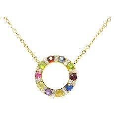 Victorian 2.50 CTW Diamond Amethyst Demantoid Garnet Tourmaline Sapphire Ruby 14 Karat Gold Necklace