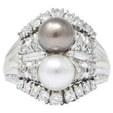 Koch 1950's 1.10 CTW Diamond Cultured Pearl 18 Karat White Gold Ring