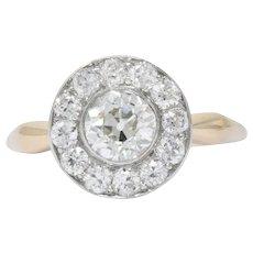 Edwardian 1.35 CTW Diamond Platinum-Topped 14 Karat Rose Gold Engagement Alternative Cluster Ring GIA