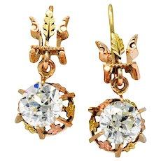 Victorian 2.10 CTW Diamond 14 Karat Two-Tone Gold Drop Earrings
