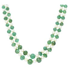 Art Deco French Diamond Emerald Bead Cultured Pearl Platinum Two Strand Necklace