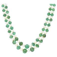 Art Deco French Diamond Emerald Cultured Pearl Platinum Double Strand Necklace