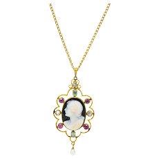 Victorian Hardstone Cameo Multi-Gem Pearl 18 Karat Gold Pendant Necklace