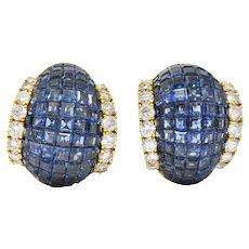 Invisible Set 16.00 CTW Sapphire Diamond Convertible Earrings