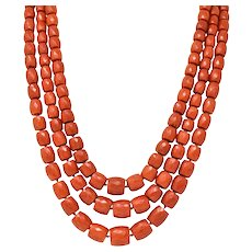 Victorian Coral Bead 12 Karat Gold Triple Strand Necklace GIA