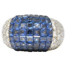 Invisible Set 7.30 Carat Sapphire Diamond 18 Karat Gold Cocktail Ring