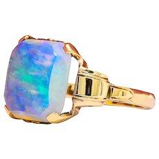 Antique 1920's Jelly Opal 10 Karat Gold Art Deco Ring