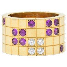Cartier Lanieres Diamond Sapphire 18 Karat Yellow Gold Wide Band Ring