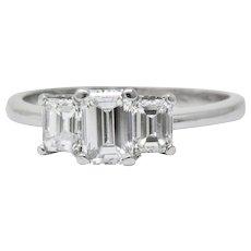Vintage 1.40 CTW Emerald Cut Diamond Platinum Engagement Ring