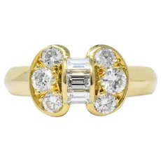 Van Cleef and Arpels 0.60 CTW Diamond 18 Karat Yellow Gold Bow Ring