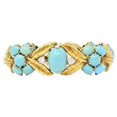 Tiffany & Co. France 1950's 2.00 CTW Diamond Turquoise Platinum 18 Karat Gold Bracelet