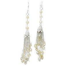 1920's Diamond Seed Pearl Platinum 14 Karat White Gold Tassel Drop Art Deco Earrings